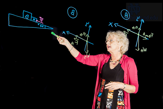 Sept. 8, 2015; Associate Dean and professor of physics Malgorzata (Margaret) Dobrowolksa-Furdyna works at the light board in Jordan Hall of Science. (Photo by Matt Cashore/University of Notre Dame)