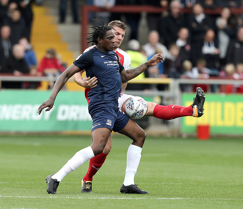 Southend United's Nile Ranger battles with Fleetwood Town's Aiden O'Neill<br /> <br /> Photographer Rich Linley/CameraSport<br /> <br /> The EFL Sky Bet League One - Fleetwood Town v Southend United - Saturday 23rd September 2017 - Highbury Stadium - Fleetwood<br /> <br /> World Copyright &copy; 2017 CameraSport. All rights reserved. 43 Linden Ave. Countesthorpe. Leicester. England. LE8 5PG - Tel: +44 (0) 116 277 4147 - admin@camerasport.com - www.camerasport.com