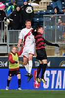 Chester, PA - Sunday December 10, 2017: Grant Lillard, Corey Baird. Stanford University defeated Indiana University 1-0 in double overtime during the NCAA 2017 Men's College Cup championship match at Talen Energy Stadium.
