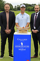 Calum Hill (SCO) wins the tournament by 1 shot pictured with Modest Golf Director Mark McDonnell and Colin Johnston General Manager Galgorm Resort &amp; Spa, at the end of Sunday's Final Round of the Northern Ireland Open 2018 presented by Modest Golf held at Galgorm Castle Golf Club, Ballymena, Northern Ireland. 19th August 2018.<br /> Picture: Eoin Clarke | Golffile<br /> <br /> <br /> All photos usage must carry mandatory copyright credit (&copy; Golffile | Eoin Clarke)