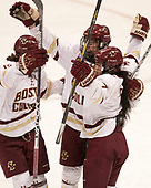 Makenna Newkirk (BC - 19), Caitrin Lonergan (BC - 11), Kristyn Capizzano (BC - 7) - The Boston College Eagles defeated the Northeastern University Huskies 2-1 to win the Beanpot on Monday, February 7, 2017, at Matthews Arena in Boston, Massachusetts.