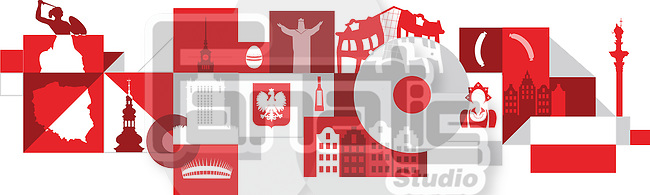 Illustrative collage of Poland over white background