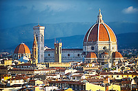 Rooftop view of the Gothic-Renaissance Duomo of Florence,  Basilica of Saint Mary of the Flower; Firenza ( Basilica di Santa Maria del Fiore ) built between 1293 & 1436. Italy