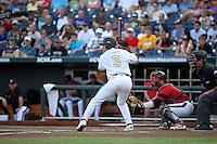 Vince Conde #3 of the Vanderbilt Commodores bats during Game 2 of the 2014 Men's College World Series between the Vanderbilt Commodores and Louisville Cardinals at TD Ameritrade Park on June 14, 2014 in Omaha, Nebraska. (Brace Hemmelgarn/Four Seam Images)