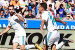 Real Madrid's Daniel Carvajal (l) and Dani Ceballos celebrate goal during La Liga match. September 23,2017. (ALTERPHOTOS/Acero)