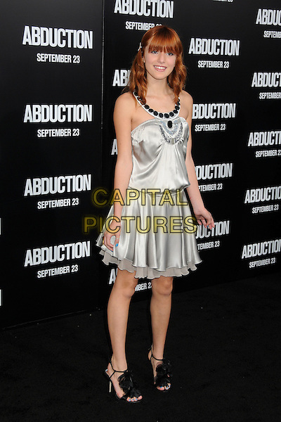 "Bella Thorne.""Abduction"" World Premiere held at Grauman's Chinese Theatre, Hollywood, California, USA..September 15th, 2011.full length silk satin dress black beads silver grey gray.CAP/ADM/BP.©Byron Purvis/AdMedia/Capital Pictures."