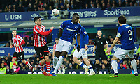 Lincoln City's Tom Pett vies for possession with Everton's Kurt Zouma<br /> <br /> Photographer Chris Vaughan/CameraSport<br /> <br /> Emirates FA Cup Third Round - Everton v Lincoln City - Saturday 5th January 2019 - Goodison Park - Liverpool<br />  <br /> World Copyright &copy; 2019 CameraSport. All rights reserved. 43 Linden Ave. Countesthorpe. Leicester. England. LE8 5PG - Tel: +44 (0) 116 277 4147 - admin@camerasport.com - www.camerasport.com