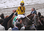 27 Sept 2008:Jockey Robby Albarado gets a high-five as Curlin becomes the richest horse in racing history after a 3/4-length victory in the Jockey Club Gold Cup at Belmont Park in Elmont, New York.