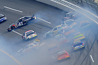 Apr 26, 2008; Talladega, AL, USA; NASCAR Nationwide Series driver Kyle Krisiloff (41) Carl Edwards (60) Kenny Wallace (28) and Steve Wallace (66) crash during the Aarons 312 at the Talladega Superspeedway. Mandatory Credit: Mark J. Rebilas-