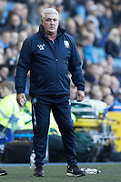 Sheffield Wednesday manager Steve Bruce reacts on the touch line during the Sky Bet Championship match between Sheffield Wednesday and Swansea City at Hillsborough Stadium, Sheffield, England, UK. Saturday 23 February 2019