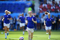 DECINES-CHARPIEU, FRANCE - JULY 07: Rose Lavelle #16 warming up prior to the 2019 FIFA Women's World Cup France Final match between Netherlands and the United States at Groupama Stadium on July 07, 2019 in Decines-Charpieu, France.
