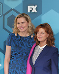 Actresses Geena Davis & Susan Sarandon - Search for Tomorrow  - Fox Upfront - May 16, 2016 at Wollman Rink, Central Park, New York City, New York. (Photo by Sue Coflin/Max Photos)