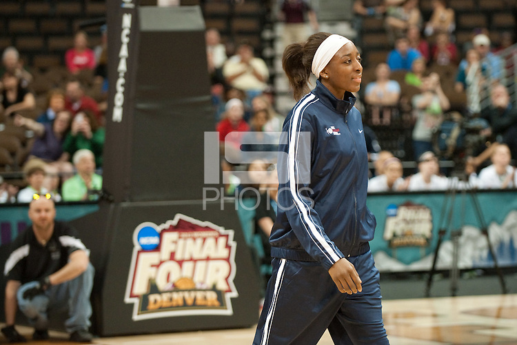 DENVER, CO-- Nneka Ogwumike receives her award during the WBCA All American awards at the Pepsi Center for the 2012 NCAA Women's Final Four festivities in Denver, CO.