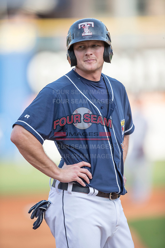 Toledo Mud Hens first baseman John Hicks (9) in action against the Louisville Bats during the International League baseball game on May 17, 2017 at Fifth Third Field in Toledo, Ohio. Toledo defeated Louisville 16-2. (Andrew Woolley/Four Seam Images)