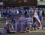 Merchandise stalls outside Ibrox for the first home game of the season against East Fife in the Scottish Communities League Cup.
