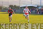 Kieran Hurley (St Pats Blennerville in action with Adrian Greaney (Kenmare Shamrocks) in tyhe Credit Union Senior Football League 2013 Div 2. Round 2. at St Pats GAA Grounds, Blennerville on Saturday.