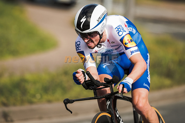 Julian Alaphilippe (FRA) Deceuninck-Quick Step in action during Stage 4 of the 78th edition of Paris-Nice 2020, and individual time trial running 15.1km around Saint-Amand-Montrond, France. 11th March 2020.<br /> Picture: ASO/Fabien Boukla | Cyclefile<br /> All photos usage must carry mandatory copyright credit (© Cyclefile | ASO/Fabien Boukla)