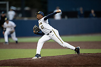 Michigan Wolverines pitcher Angelo Smith (40) delivers a pitch to the plate in the NCAA baseball game against the Michigan State Spartans on May 7, 2019 at Ray Fisher Stadium in Ann Arbor, Michigan. Michigan defeated Michigan State 7-0. (Andrew Woolley/Four Seam Images)