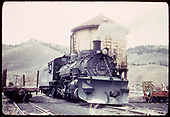 D&amp;RGW #483 K-36 with plow on pilot at water tank at Sargent.<br /> D&amp;RGW  Sargent, CO