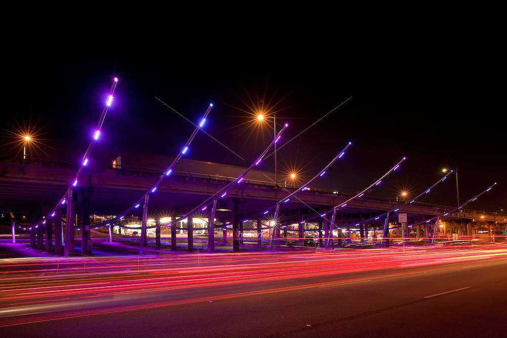 The IH-35 Makeover Project will reconstruct the parking areas under the highway to enhance the safety, comfort, and aesthetics of the area and create an attractive gateway reconnecting downtown to East Austin.The lighting project will be done through the City's Art in Public Places Program and will be programmed LED lights in arches over the parking lots. A computer-generated illumination will create a show as well as create safe lighting.