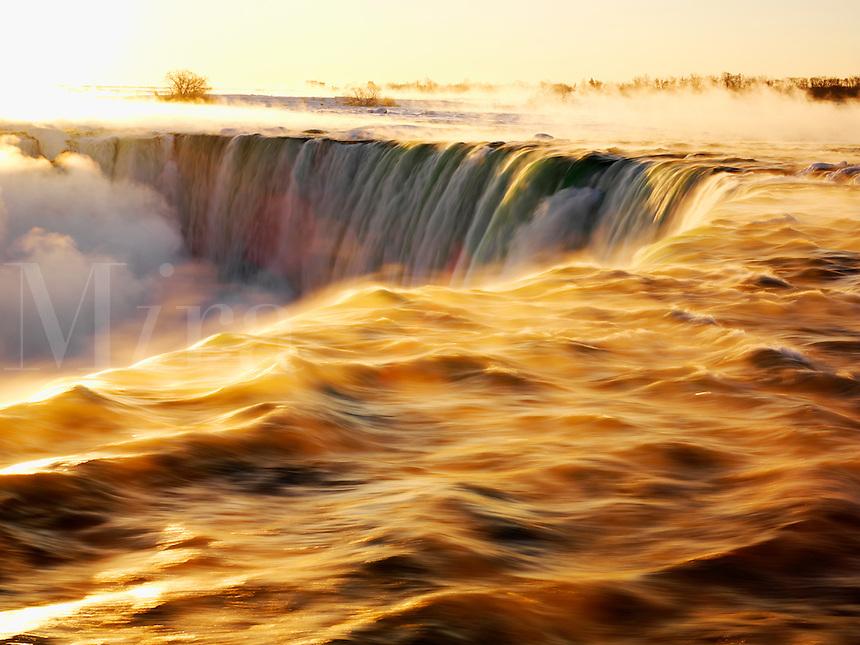 Canada, Ontario, Niagara Falls, sunrise at Niagara Falls also known as the Canadian Falls and Horseshoe Falls