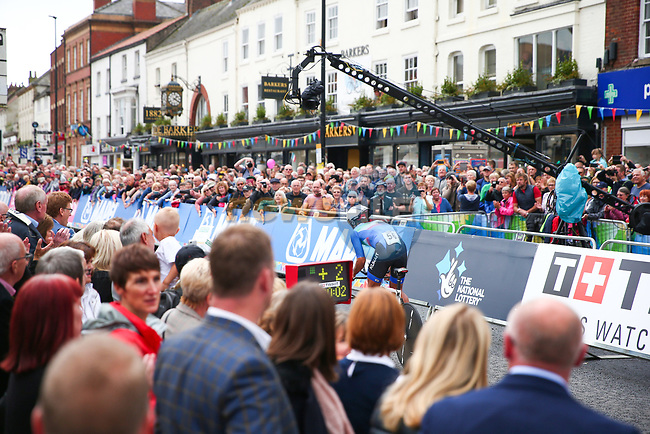 Khaled Alkhalaifah (KUW) off the start of the Men Elite Individual Time Trial of the UCI World Championships 2019 running 54km from Northallerton to Harrogate, England. 25th September 2019.<br /> Picture: Alex Whitehead/SWpix.com | Cyclefile<br /> <br /> All photos usage must carry mandatory copyright credit (© Cyclefile | Alex Whitehead/SWpix.com)