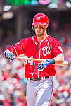 21 June 2015: Washington Nationals outfielder Bryce Harper steps up to the plate for the second time in the first inning against the Pittsburgh Pirates at Nationals Park in Washington, DC. The Nationals defeated the Pirates 9-2 to sweep their 3-game weekend series, and improve their record to 37-33. Mandatory Credit: Ed Wolfstein Photo *** RAW (NEF) Image File Available ***