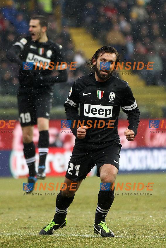 "Esultanza Andrea Pirlo Juventus dopo il gol.goal celebration.Parma 13/01/2013 Stadio ""Tardini"".Football Calcio Serie A 2012/13.Parma v Juventus.Foto Insidefoto Paolo Nucci."