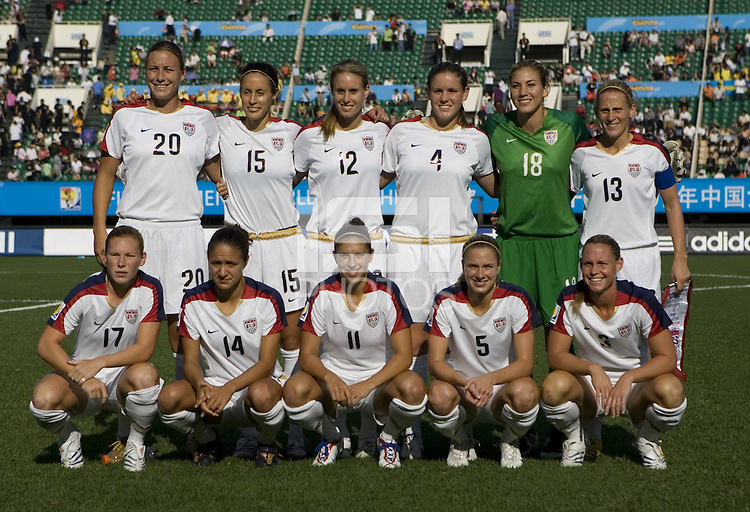 The USA lines up before their Group B first round game at the 2007 FIFA Women's World Cup at Chengdu Sports Center Stadium in Chengdu, China, on September 14, 2007. The United States (USA) defeated Sweden (SWE), 2-0.