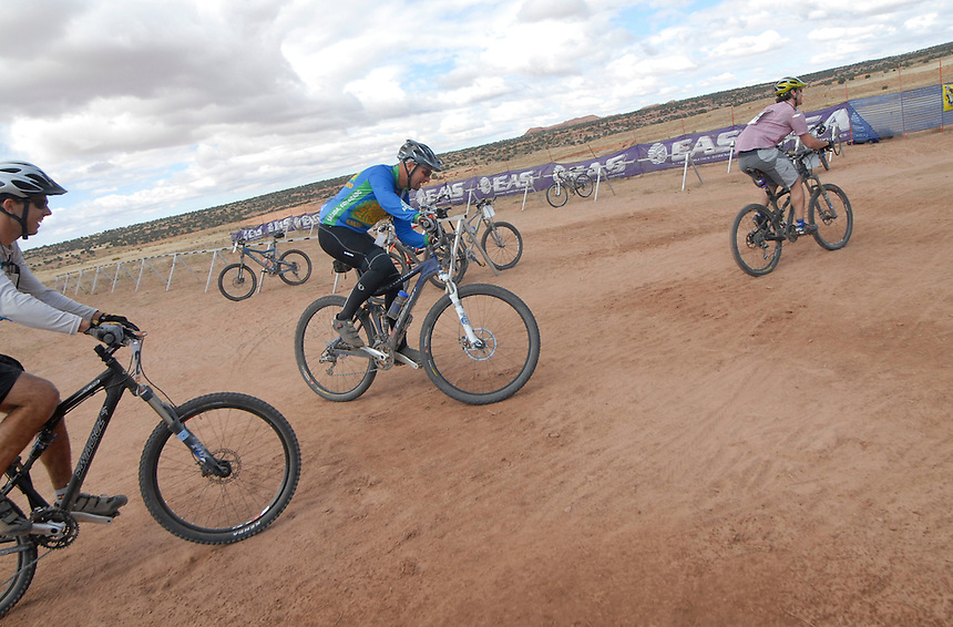the final 3 competitors of the 2007 24 hours of moab endurance mountain bike race head out to the course just prior to noon on sunday.
