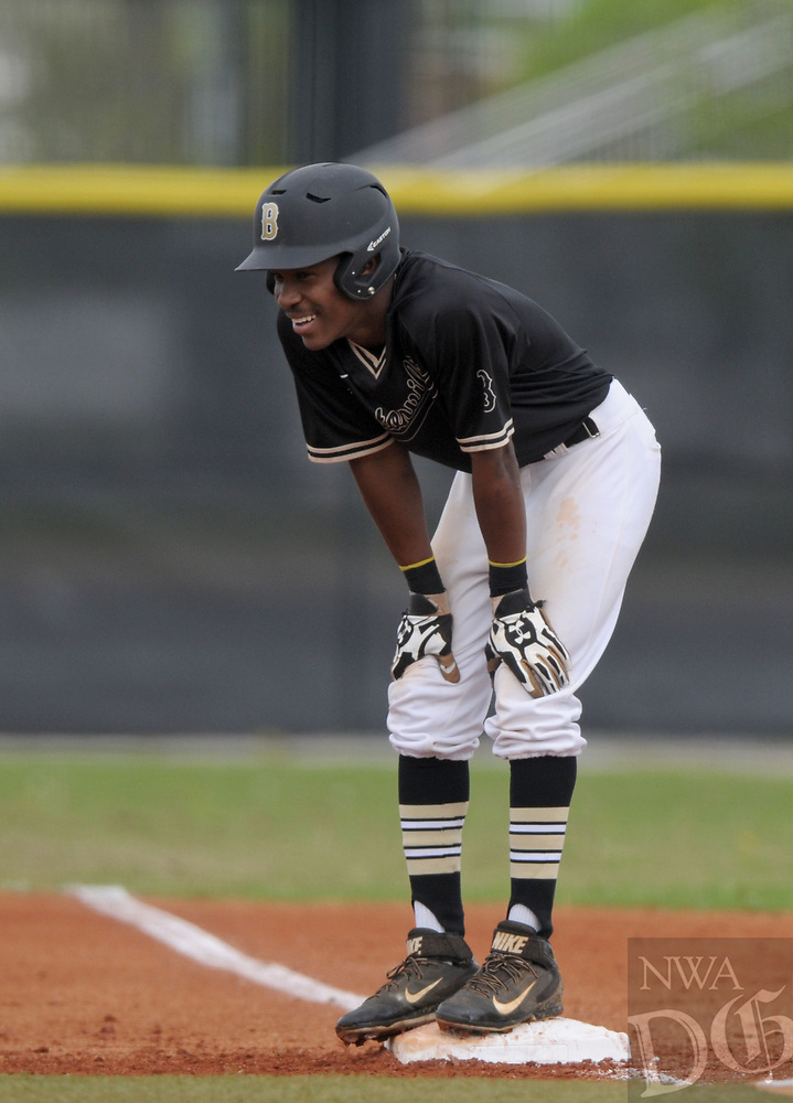 NWA Democrat-Gazette/BEN GOFF @NWABENGOFF<br /> Kam'ron Mays-Hunt, Bentonville right fielder, reacts after reaching first Monday, April 17, 2017, during the first inning against Rogers at the Tiger Athletic Complex in Bentonville.