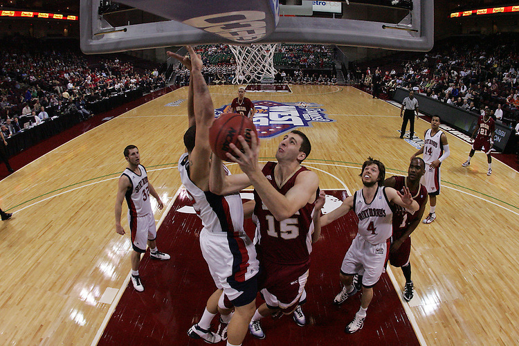 March 6, 2011; Las Vegas, NV, USA; Santa Clara Broncos forward Marc Trasolini (15) shoots the ball against the Saint Mary's Gaels during the WCC Basketball Championships semifinal game at Orleans Arena. The Gaels defeated the Broncos 73-64.