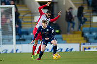 30th November 2019; Dens Park, Dundee, Scotland; Scottish Championship Football, Dundee Football Club versus Queen of the South; Finlay Robertson of Dundee challenges for the ball with Faissal El Bakhtaoui of Queen of the South  - Editorial Use