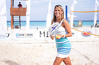 CANCUN, Quintana Roo. 30 August, 2012. Ines Sainz during the presentation of the Cancun Beach Tennis Tournament held at the Hotel Me. // Ines Sainz durante la presentacion del Torneo Cancun Beach Tennis celebrado en el Hotel Me.<br />