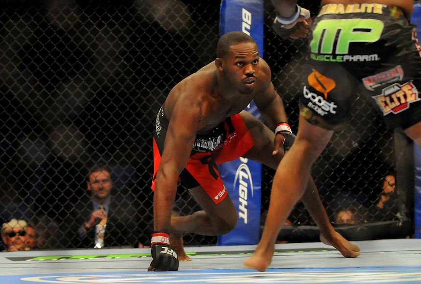 "24 SEPTEMBER 2011:    Jon ""Bones"" Jones started the first round low against Quinton ""Rampage"" Jackson during UFC 135 at the Pepsi Center in Denver, Colorado. *****For Editorial Use Only*****"