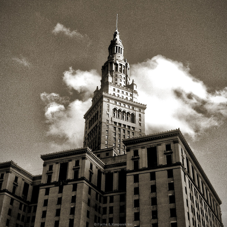 The iconic Terminal Tower building in downtown Cleveland, OH