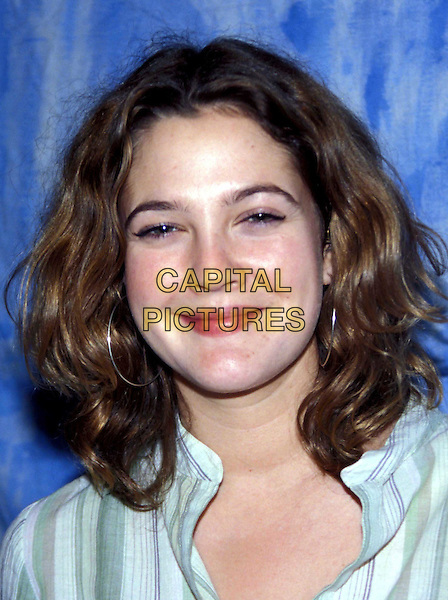 DREW BARRYMORE  .Ref: AW.stripes, headshot portrait shirt white green.www.capitalpictures.com.sales@capitalpictures.com.Supplied by Capital Pictures