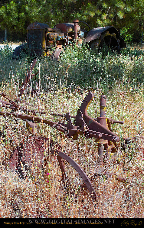 Antique Farm Equipment, Tractor and Plow, Farm Field, Mariposa, California