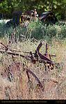 Antique Farm Equipment, Tractor and Plow, Farm Field, Mariposa, California