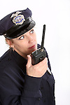 A woman security officer on a radio