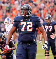 Virginia offensive tackle Eric Smith (72) Duke defeated Virginia 35-22 at Scott Stadium in Charlottesville, VA. . Photo/Andrew Shurtleff