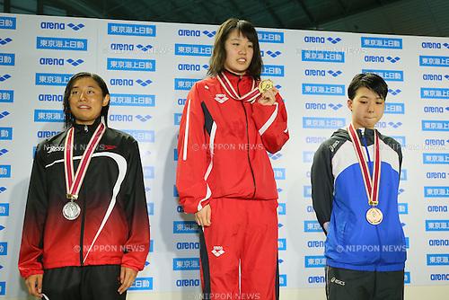 (L to R) <br /> Misaki Sekiguchi, <br /> Kana Hiramatsu, <br /> Yuki Takasaki, <br /> MARCH 29, 2015 - Swimming : <br /> The 37th JOC Junior Olympic Cup <br /> Women's 50m Breaststroke <br /> champion ship award ceremony <br /> at Tatsumi International Swimming Pool, Tokyo, Japan. <br /> (Photo by YUTAKA/AFLO SPORT)