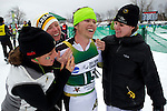 11 MAR 2011: Reid Pletcher (15) of the University of Colorado is surrounded by teammates following the men's 20km Classical Cross Country race during the 2011 NCAA Men and Women's Division I Skiing Championship held Stowe Mountain Resort and Trapp Family Lodge in Stowe, VT. Pletcher placed first to win the national title. ©Brett Wilhelm/NCAA Photos