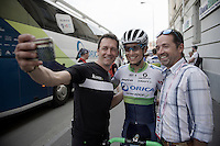 selfie-time for Johan Esteban Chaves (COL/Orica-GreenEDGE) in the start town of Pinerolo<br /> <br /> stage 19: Pinerolo(IT) - Risoul(FR) 162km<br /> 99th Giro d'Italia 2016