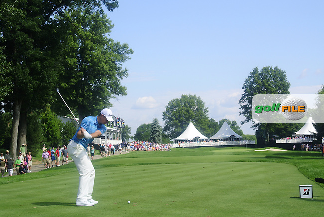 Justin Rose (ENG) tees off the 15th tee during Friday's Round 1 of the 2013 Bridgestone Invitational WGC tournament held at the Firestone Country Club, Akron, Ohio. 2nd August 2013.<br /> Picture: Eoin Clarke www.golffile.ie