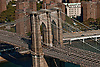 Aerial view of the Brooklyn Bridge over the East River, New York City