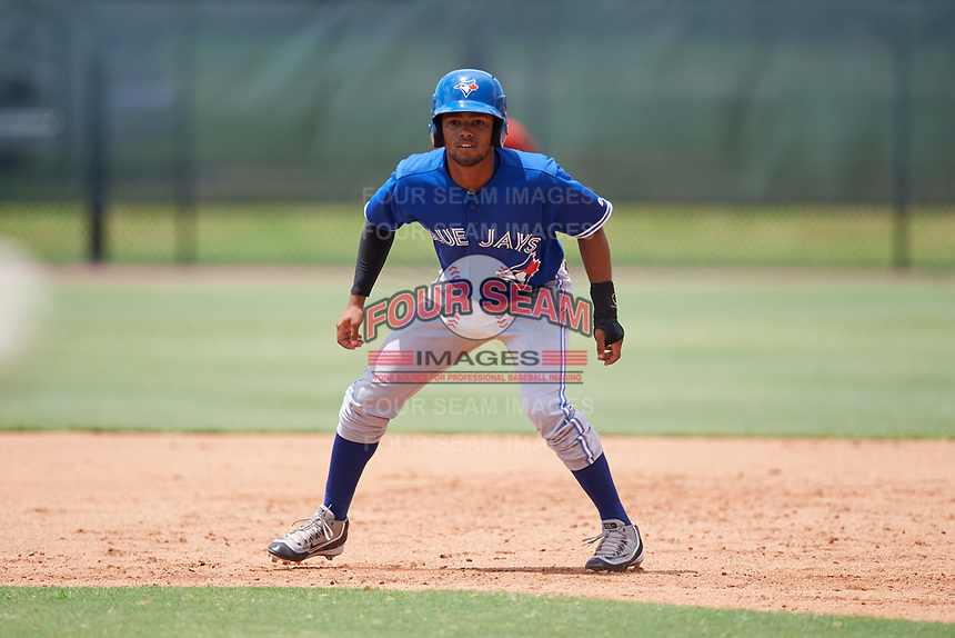 GCL Blue Jays designated hitter Steward Berroa (1) leads off first base during a game against the GCL Phillies East on August 10, 2018 at Carpenter Complex in Clearwater, Florida.  GCL Blue Jays defeated GCL Phillies East 8-3.  (Mike Janes/Four Seam Images)