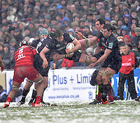 Leicester, England. Geoff Parling of Leicester Tigers landing after  the line out during the Heineken Cup  match between Leicester Tigers and Toulouse at Welford Road on January  20. 2013 in Leicester, England..