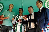 GRONINGEN - Voetbal, Presentatie Uriel Antuna , FC Groningen , Noordlease stadion, seizoen 2017-2018, 21-08-2017, Peter Hoekstra, Uriel Antuna, Hans Nijland en Peter Jeltema