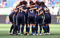 Seattle, WA - Thursday July 27, 2017: Japan starting eleven huddle during a 2017 Tournament of Nations match between the women's national teams of the Japan (JAP) and Brazil (BRA) at CenturyLink Field.